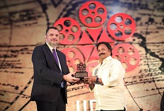 IIFTC Awards - Ambassador of Serbia H E Mr. Vladimir Maric presenting to Producer of Chekka Chivantha Vaanam